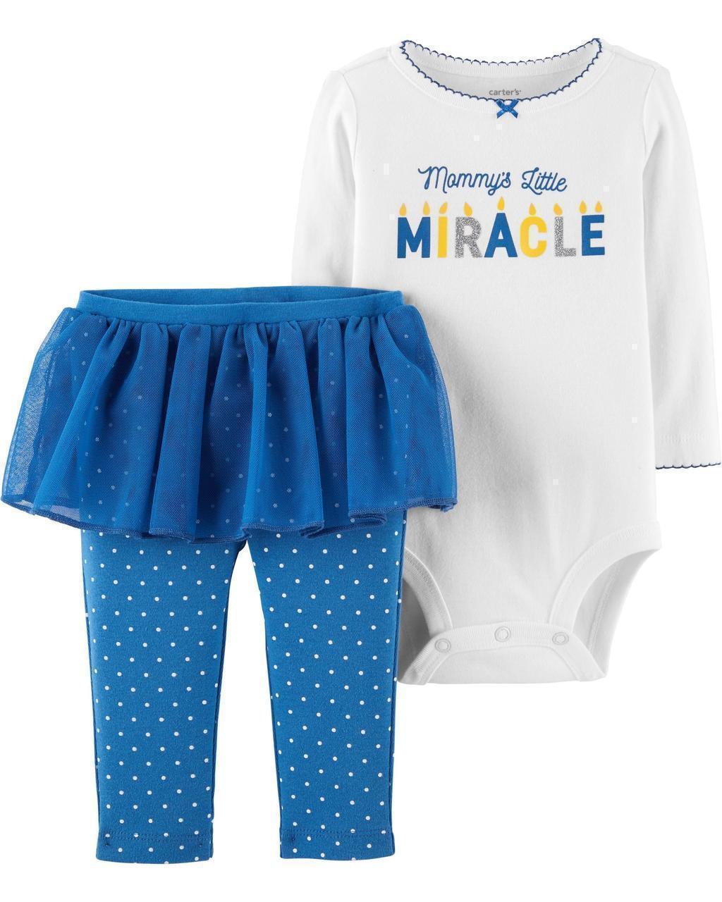 Боди + Штаны с юбкой Carters для новорожденной девочки 46-55 см. Комплект двойка