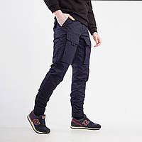 Теплые брюки карго мужские темно синие , фото 1