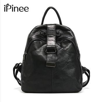 Рюкзак жіночий стильний з натуральної шкіри Ipinee (чорний)