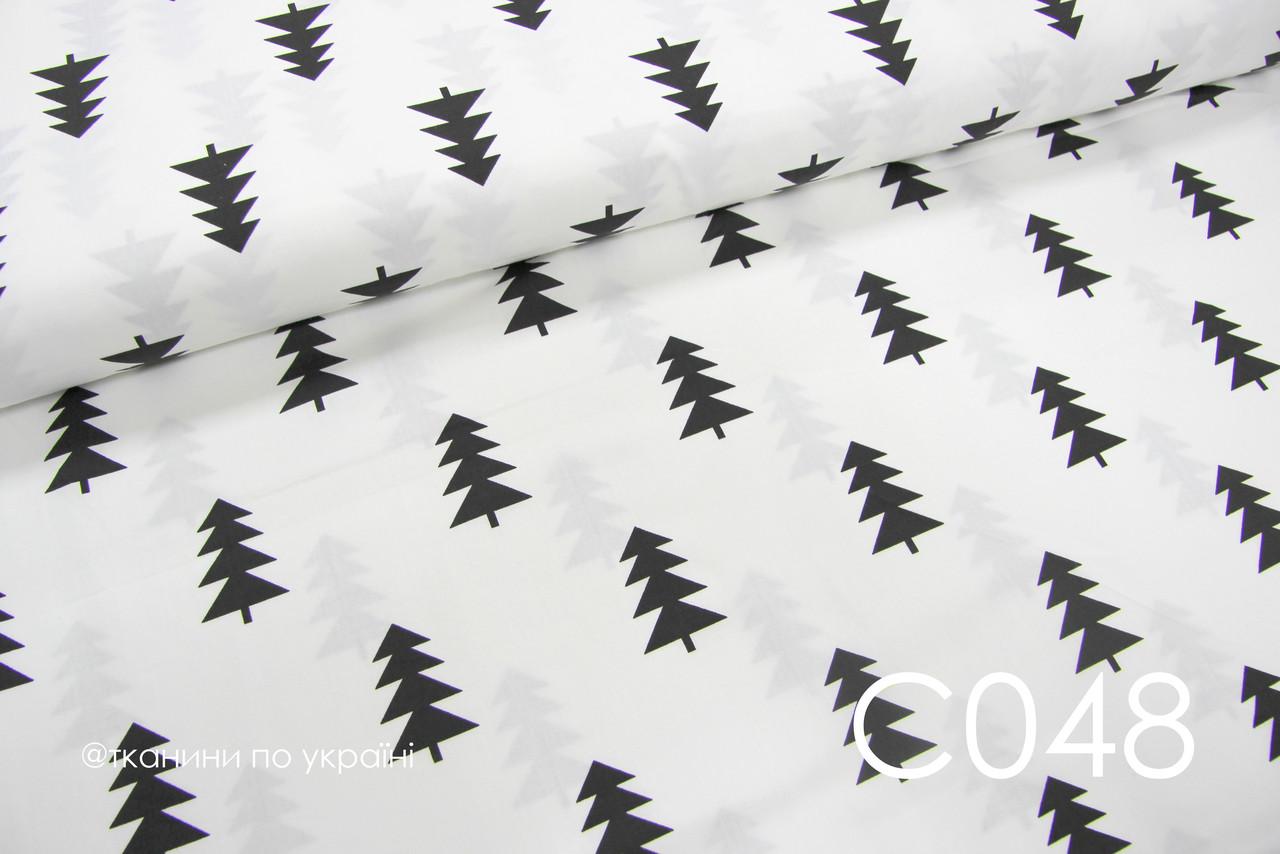 Ткань сатин Ёлочки черные