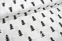 Ткань сатин Ёлочки черные, фото 1