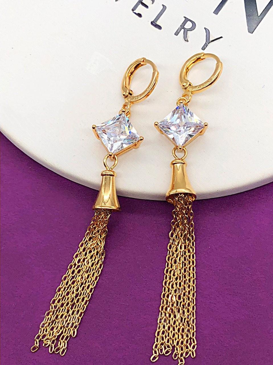 Оригинальные серьги-цепочки позолота XР. Медицинское золото. Код 5890 -  интернет- 57367e7d9d2