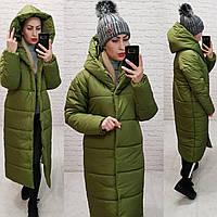 Зимняя куртка пуховик Oversize, артикул 521, цвет фисташка