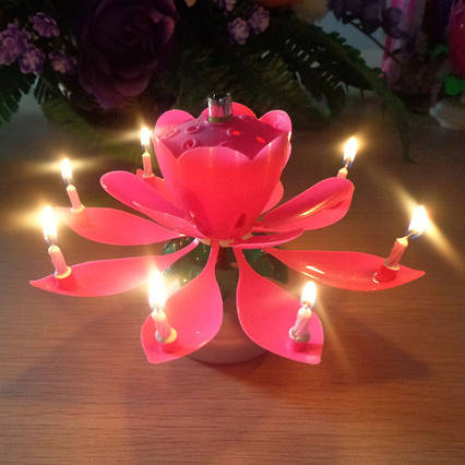 Музыкальная свеча для торта лотос большая  не крутящаяся розовая