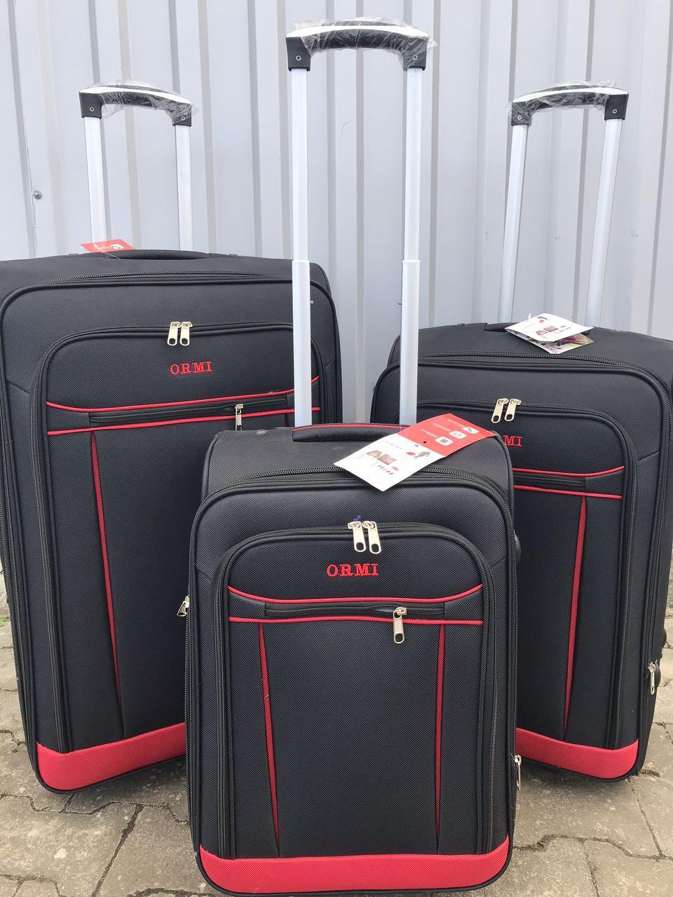Большой тканевый чемодан Ormi 1318 на 2 колесах черный