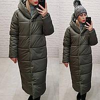 Зимняя куртка пуховик Oversize, артикул 521, цвет серо-зеленый