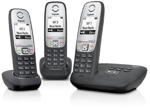 Комплект из 3-х беспроводных DECT телефонов Gigas A415A Trio с графическим дисплеем и автоответчиком