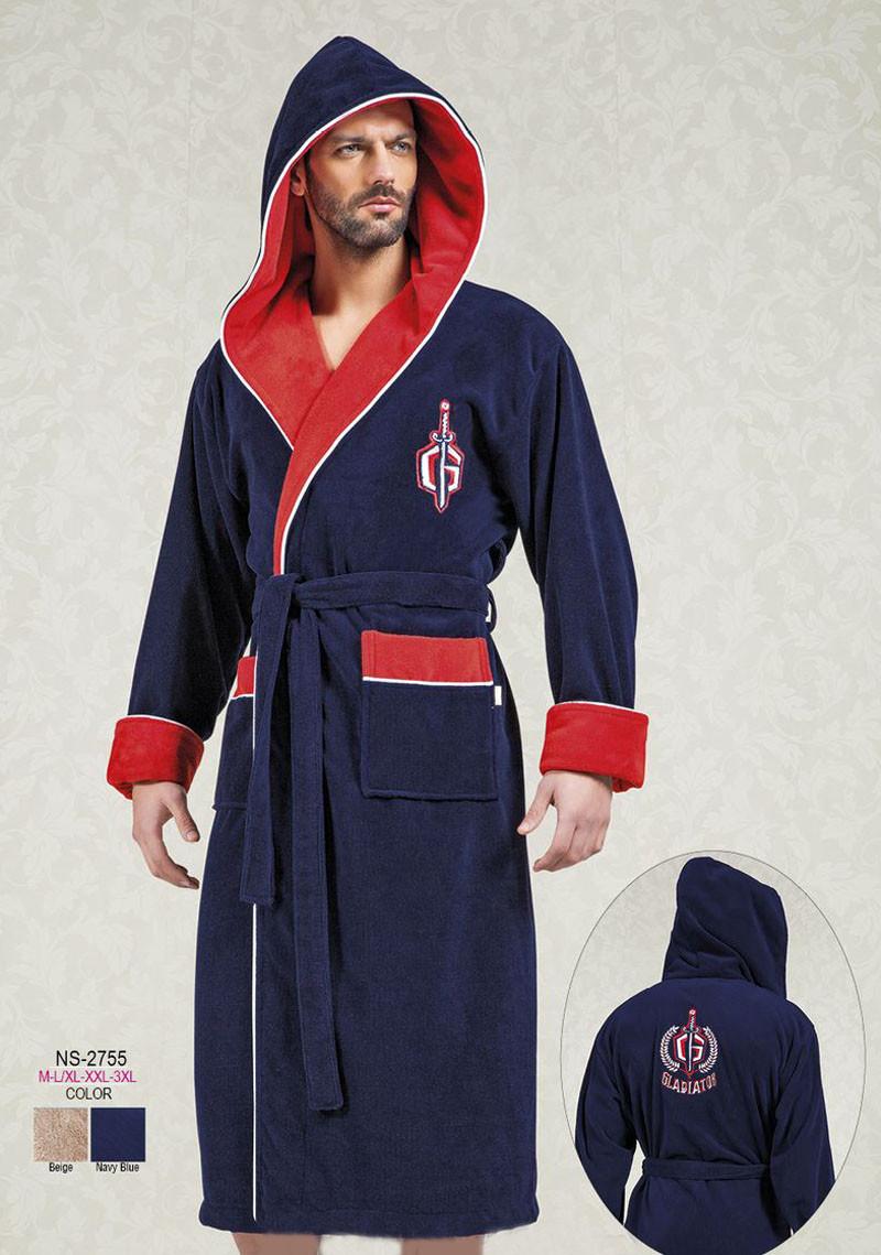 Червоний чоловічий халат з каптуром Nusa 100%-бамбук NS-2755