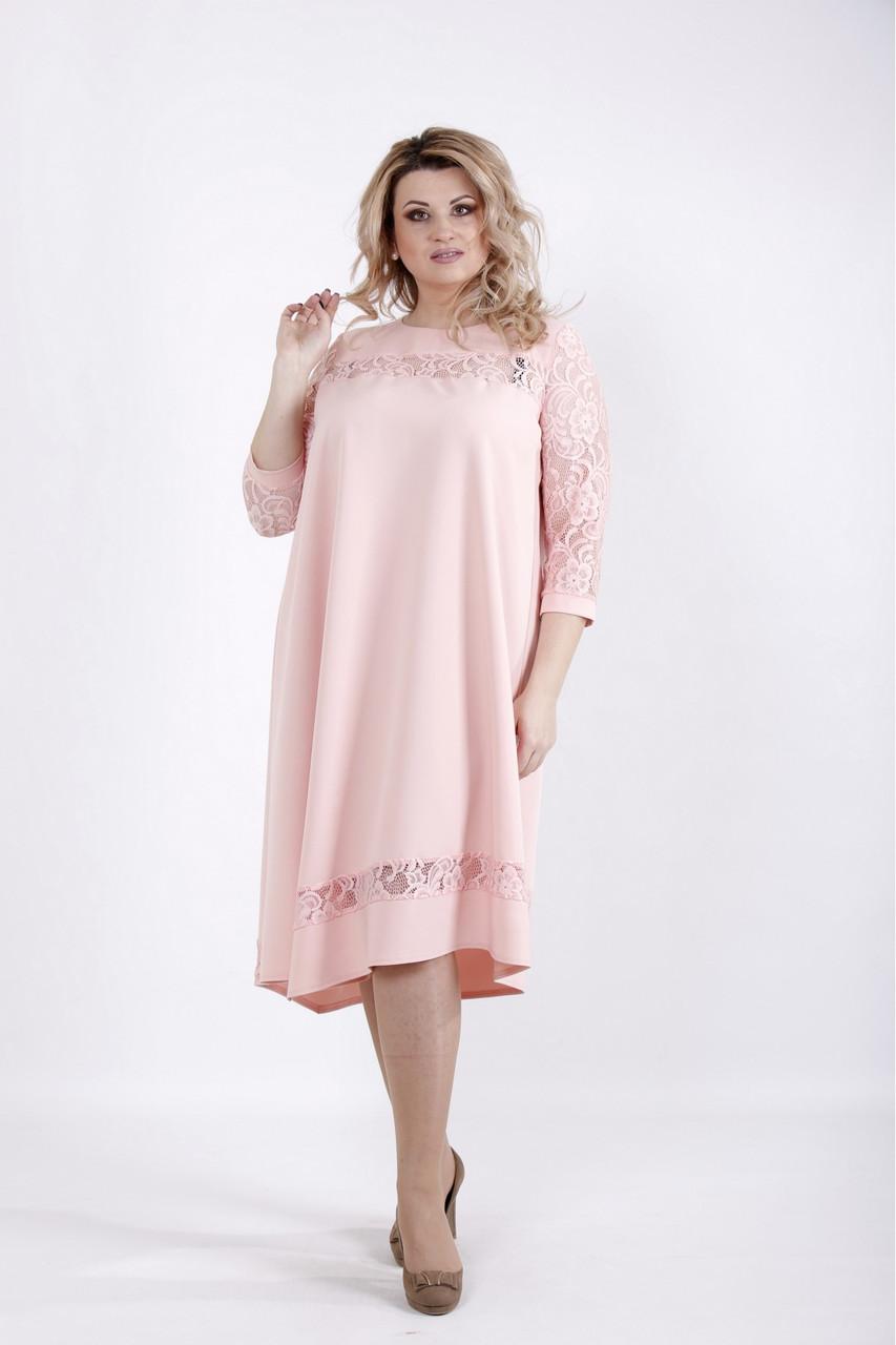 1cc50ecdf67e8c2 Нарядное нежное платье больших размеров 01028 пудра - V Mode, прямой  поставщик женской одежды в