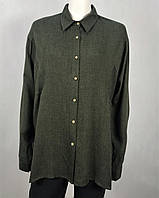 226f1e5ff1c Рубашка-туника женская удлиненная рубашка на пуговицах с длинным рукавом  хаки