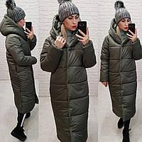 Пальто пуховик одеяло зима OVERSIZE с капюшоном арт. М521асфальт, темно-серый