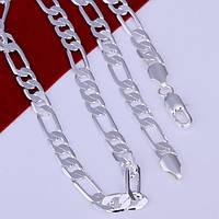 Цепочка 8 мм звенья 1*3 плоские покрытие 925 серебро проба