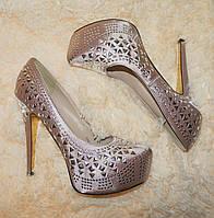 Туфлі вечірні жіночі, на 25.5 см., колір рожевий шампань