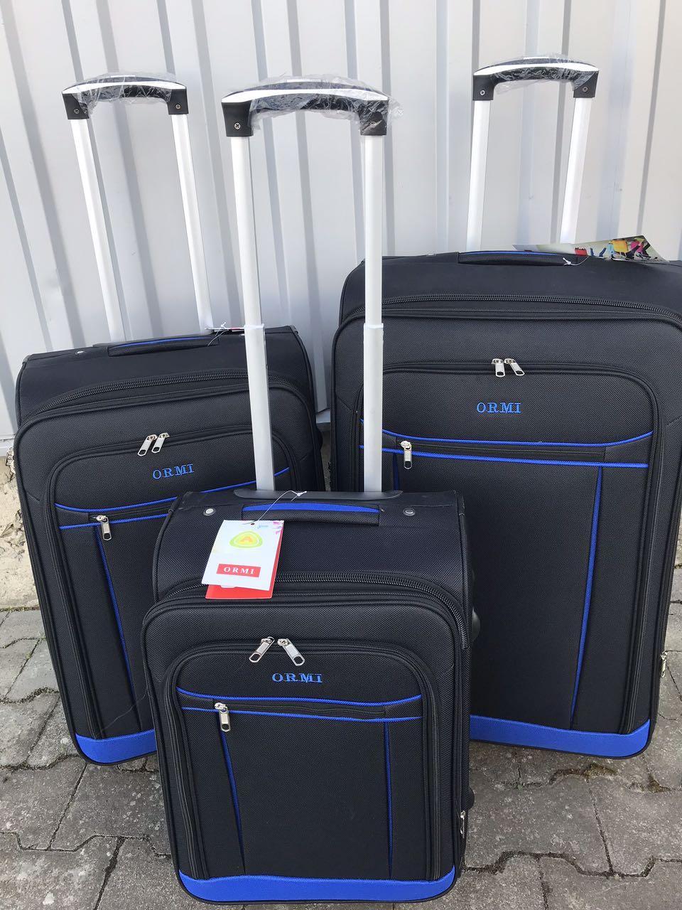 Малый тканевый чемодан Ormi 1318 на 2 колесах черный