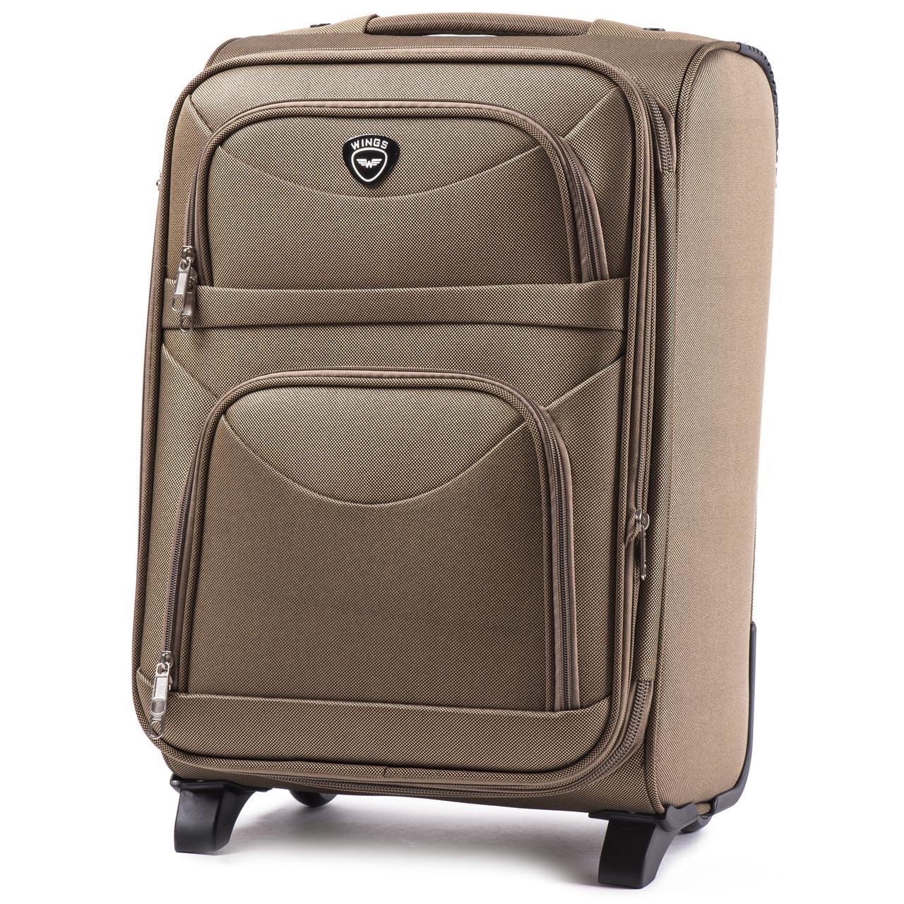 Большой тканевый чемодан Wings 6802 на 2 колесах бежевый