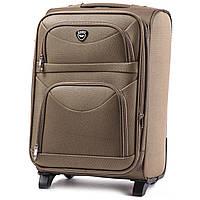 Большой тканевый чемодан Wings 6802 на 2 колесах бежевый, фото 1