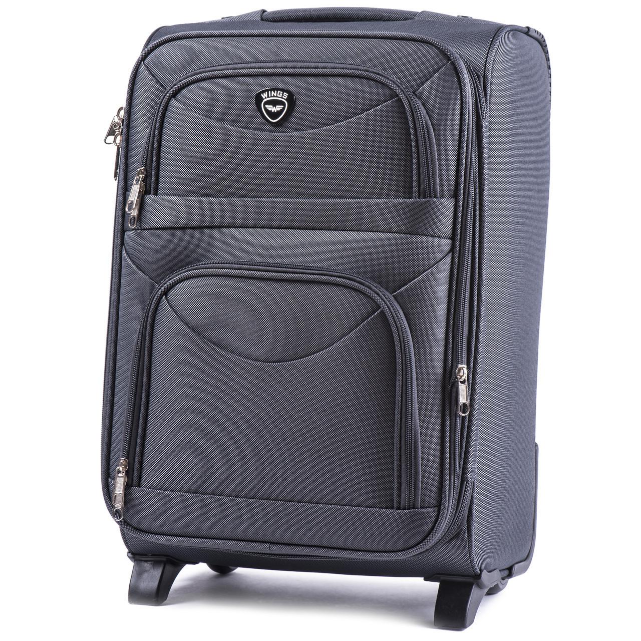 Большой тканевый чемодан Wings 6802 на 2 колесах серый, фото 1