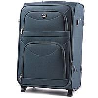 Большой тканевый чемодан Wings 6802 на 2 колесах зеленый