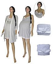 Комплект в пологовий будинок для вагітних і годуючих 18071 Klipsa коттон / мереживо сірий меланж