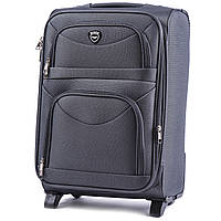 Средний тканевый чемодан Wings 6802 на 2 колесах серый