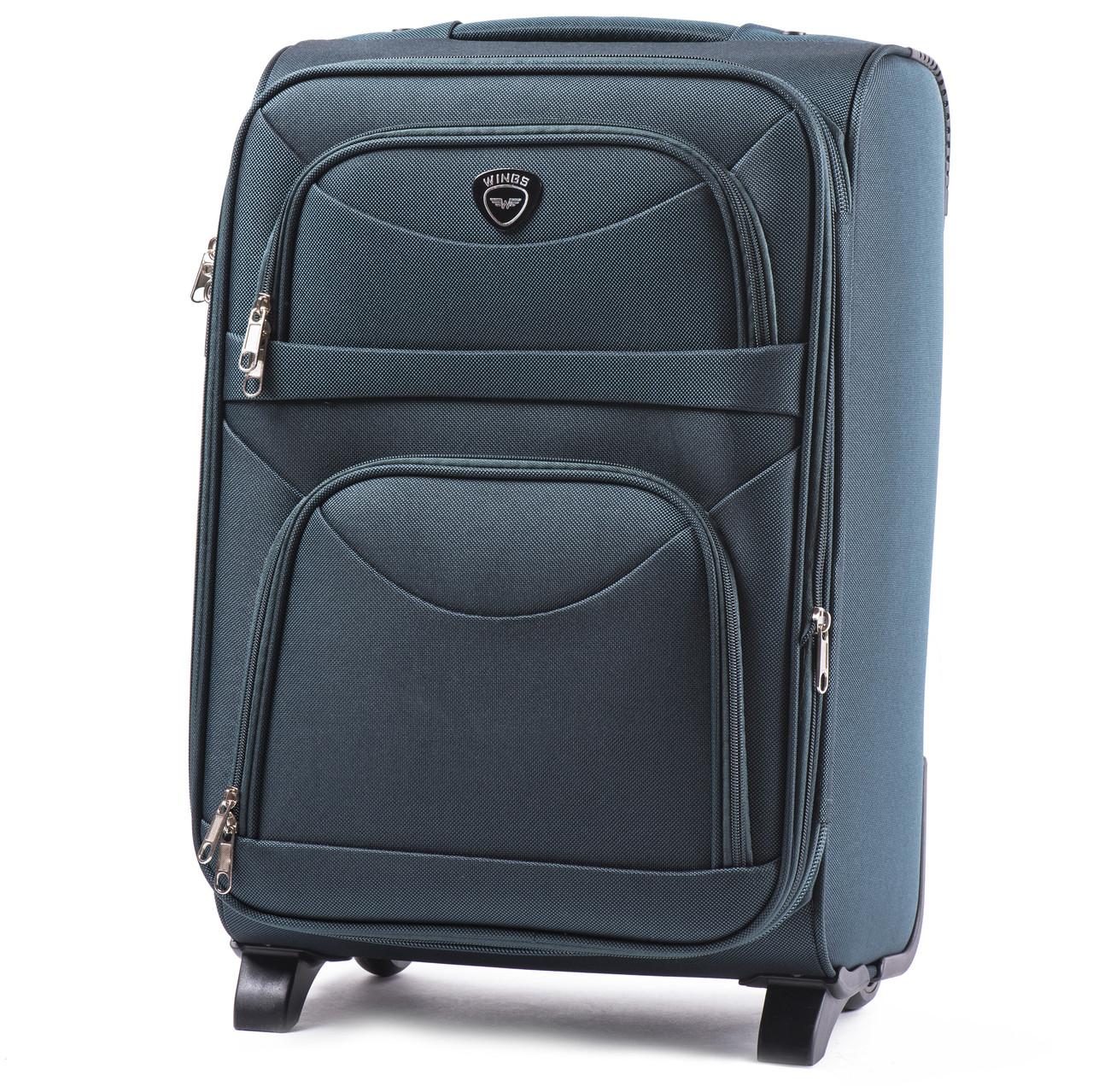 Средний тканевый чемодан Wings 6802 на 2 колесах зеленый