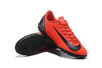 Футбольные сороконожки Nike Mercurial VaporX XII Club CR7 TF Bright Crimson/Black/Chrome, фото 1