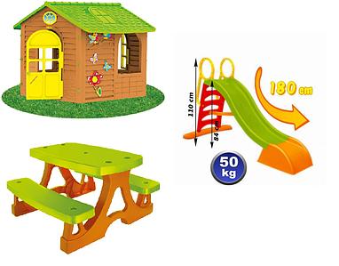 Детская площадка домик, горка, столик Mochtoys