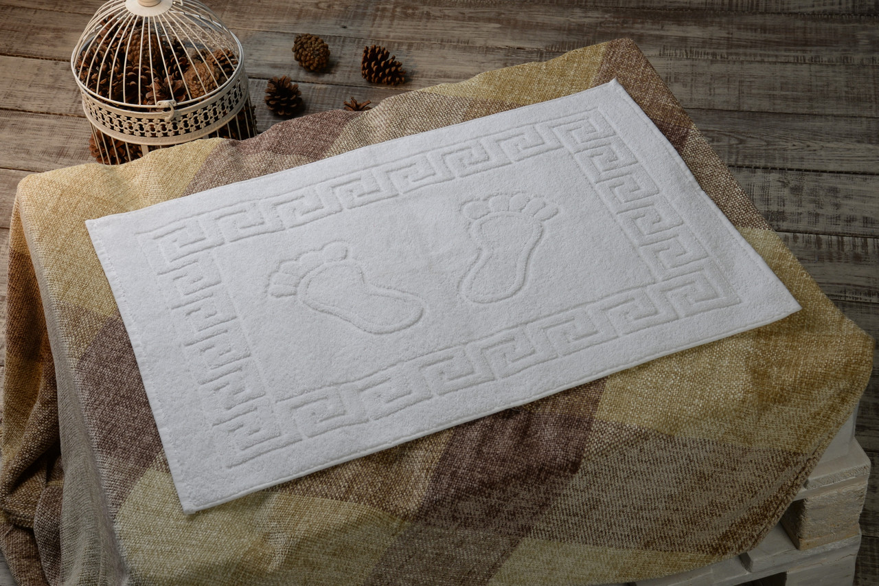 Махровые коврики для ног Турция, пл.:550 гр./м2, 50х70 см., Цвет: Белый