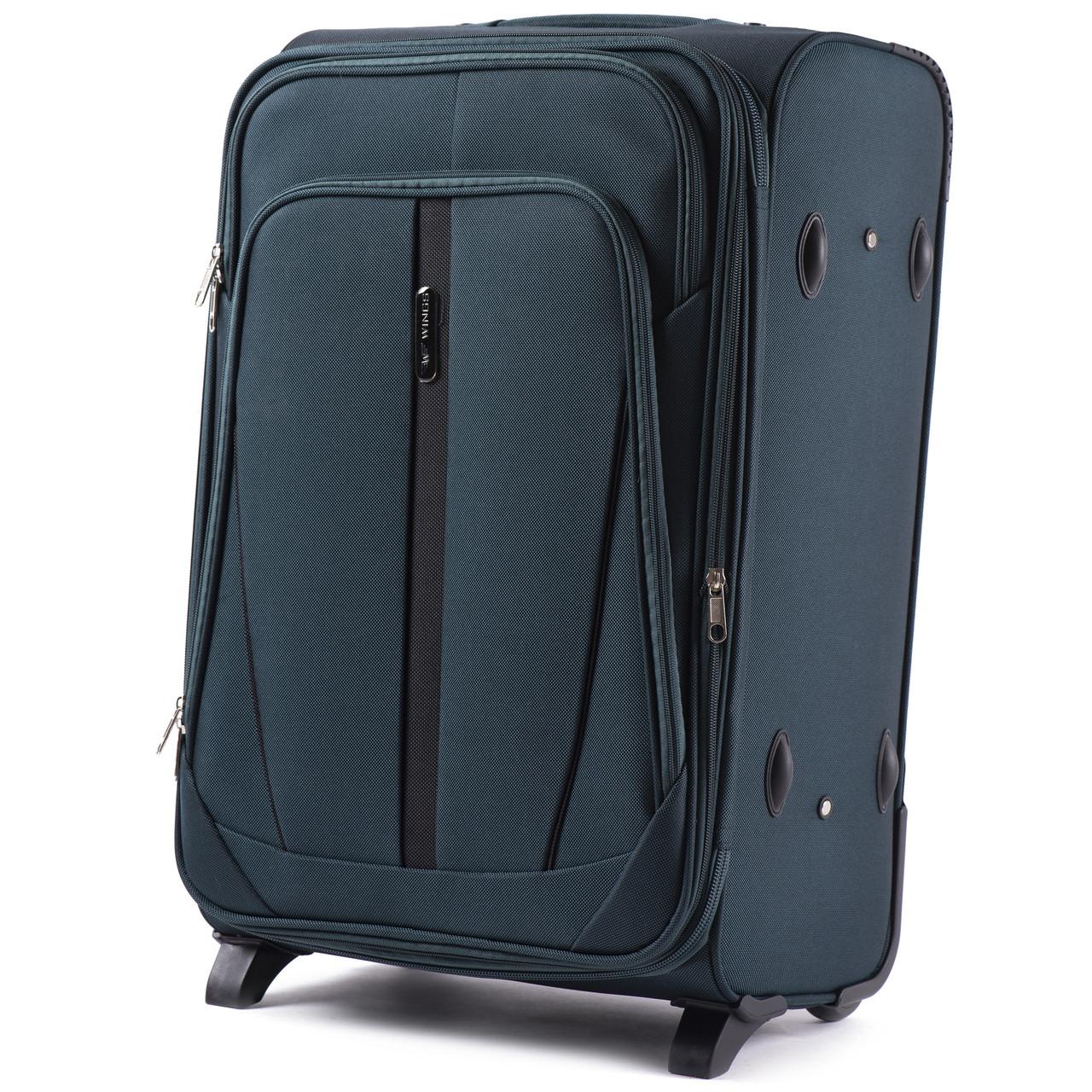 Большой тканевый чемодан Wings 1706 на 2 колесах зеленый