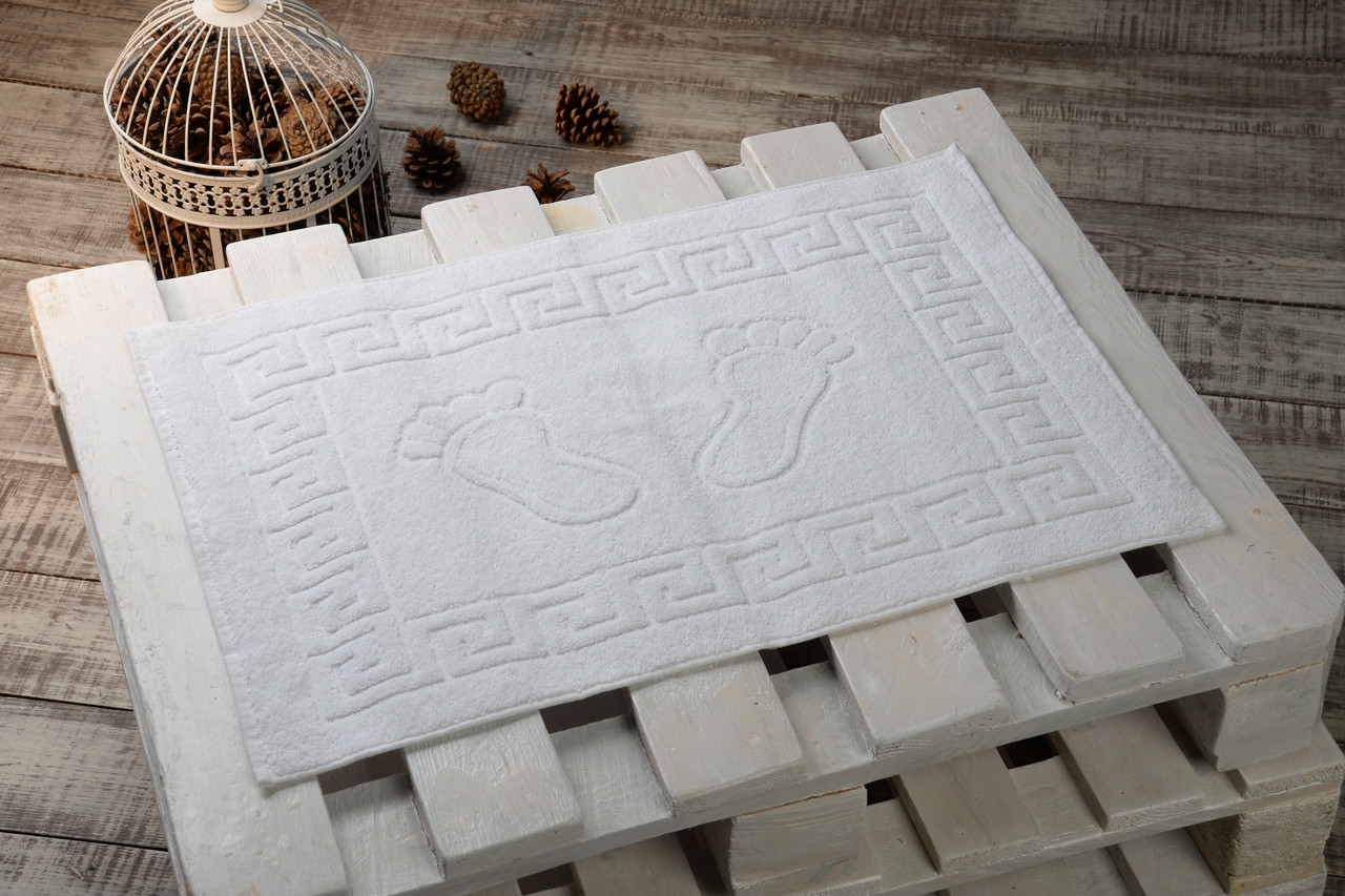 Махровые коврики для ног Турция, пл.:600 гр./м2, 50х70 см., Цвет: Белый