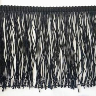 Бахрома танцювальна чорна (лапша, локшина) для одягу 50 см, тасьма 1 см, довжина ниток 49 см