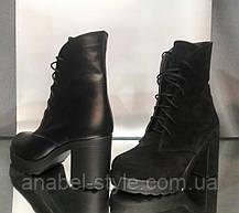 Черевики на підборах зимові з натуральної замші чорного кольору шнурівка хутро вовна Код 1928, фото 3