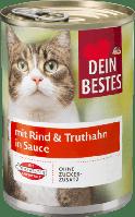 Корм для кошек мясное рагу Говядина и индейка в соусе , Dein Bestes 400 g (Германия )