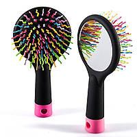 Гребінець Lady Pink з дзеркалом для розплутування волосся, фото 1