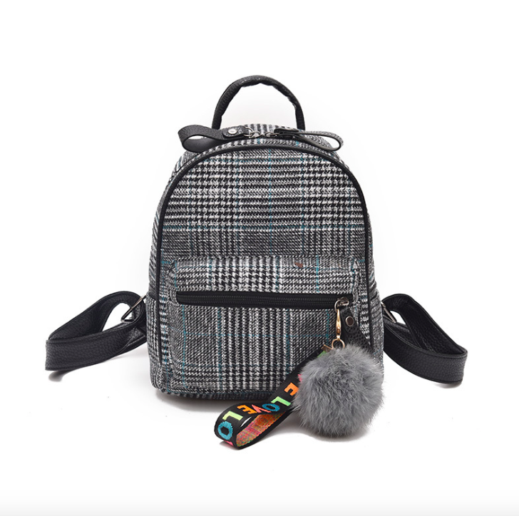 Рюкзак женский шерстяной с помпоном Серый