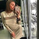 Вязаное платье с вставками сетки 18py2299, фото 2