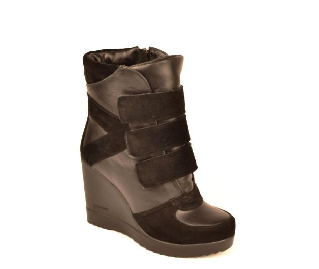 Черевики жіночі снікерси натуральна шкіра і замша чорні зимові і демісезонні від виробника KARMEN
