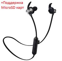 Беспроводные вакуумные mp3 bluetooth Наушники для спорта и для бега с микрофоном с флешкой microSD