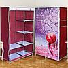 Тканевый сборной шкаф HCX «Сакура» 105х45х170 см Бордовый (D6-03)