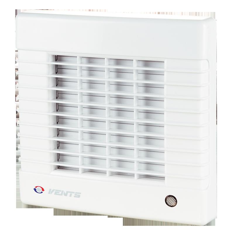 Вентилятор осевой Вентс 100 МА ТН турбо, жалюзи, таймер, датчик влажности, вытяжной, мощность 20Вт, объем 128м3/ч, 220В, гарантия 5лет