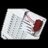 Вентилятор осевой Вентс 100 МА ТН турбо, жалюзи, таймер, датчик влажности, вытяжной, мощность 20Вт, объем 128м3/ч, 220В, гарантия 5лет, фото 2