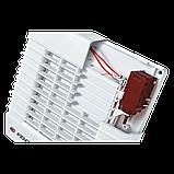 Вентилятор осевой Вентс 100 МА ТН турбо, жалюзи, таймер, датчик влажности, вытяжной, мощность 20Вт, объем 128м3/ч, 220В, гарантия 5лет, фото 3