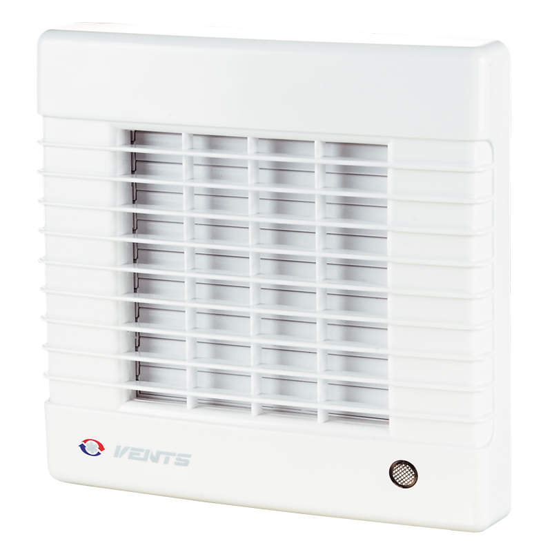 Вентилятор осевой Вентс 100 МА ВЛ турбо, жалюзи, микровыключатель, подшипник, вытяжной, мощность 20Вт, объем 128м3/ч, 220В, гарантия 5лет