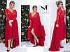 Шикарное красное нарядное женское батальное платье на запах со вставками из гипюра. Арт-7670/65