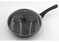 Сковорода Benson с антипригарным мраморным покрытием с крышкой 28*5,5см