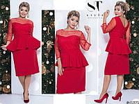 Елегантне червоне жіноче облягаючу сукню з баскою декороване намистом. Арт-7672/65