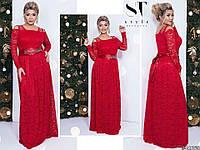 Шикарне червоне жіноче гіпюрову плаття з обробкою з страз-каменів. Арт-7673/65