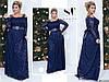 Шикарное темно-синее женское гипюровое платье с отделкой из страз-камней. Арт-7673/65