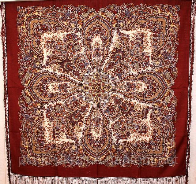 """Платок шерстяной с шелковой бахромой """"Чародейка"""", 125х125 см, рис 727-16"""