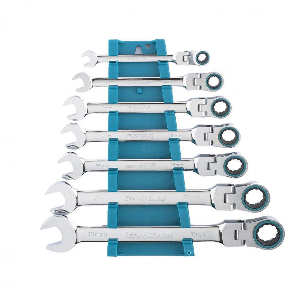 Набор ключей комбинированных с трещоткой 8-19 мм 7 шт шарнирные CrV. GROSS 14891